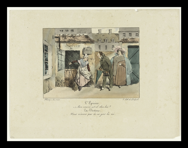 Henry Monnier, L'épicier. Mon cousin est-il chez lui ? La portière. Nous n'avons pas de ces gens-là ici, lithographie coloriée, 1830