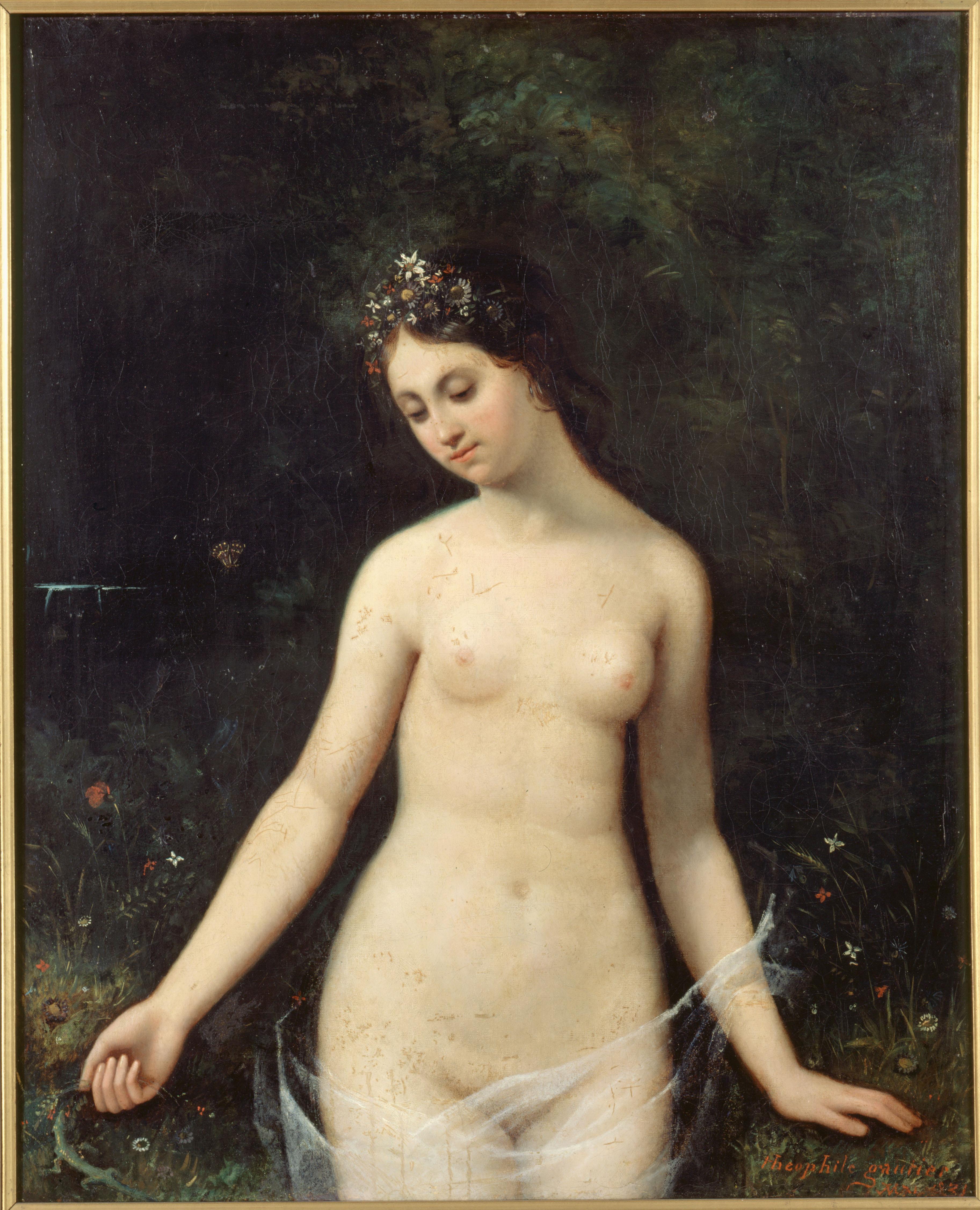 Jeune femme nue, peinture de Théophile Gautier