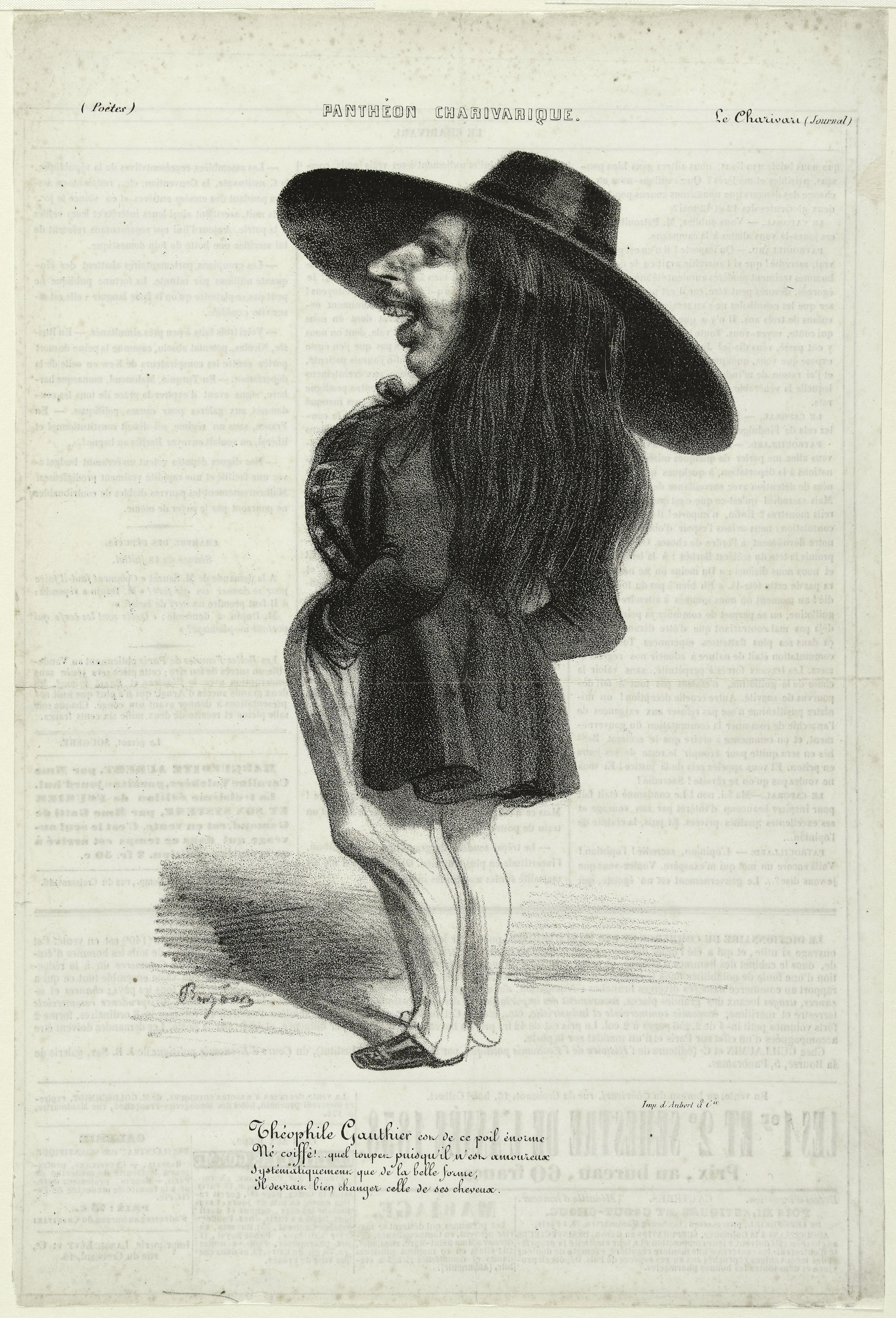 Caricature de Gautier par Benjamin Roubaud
