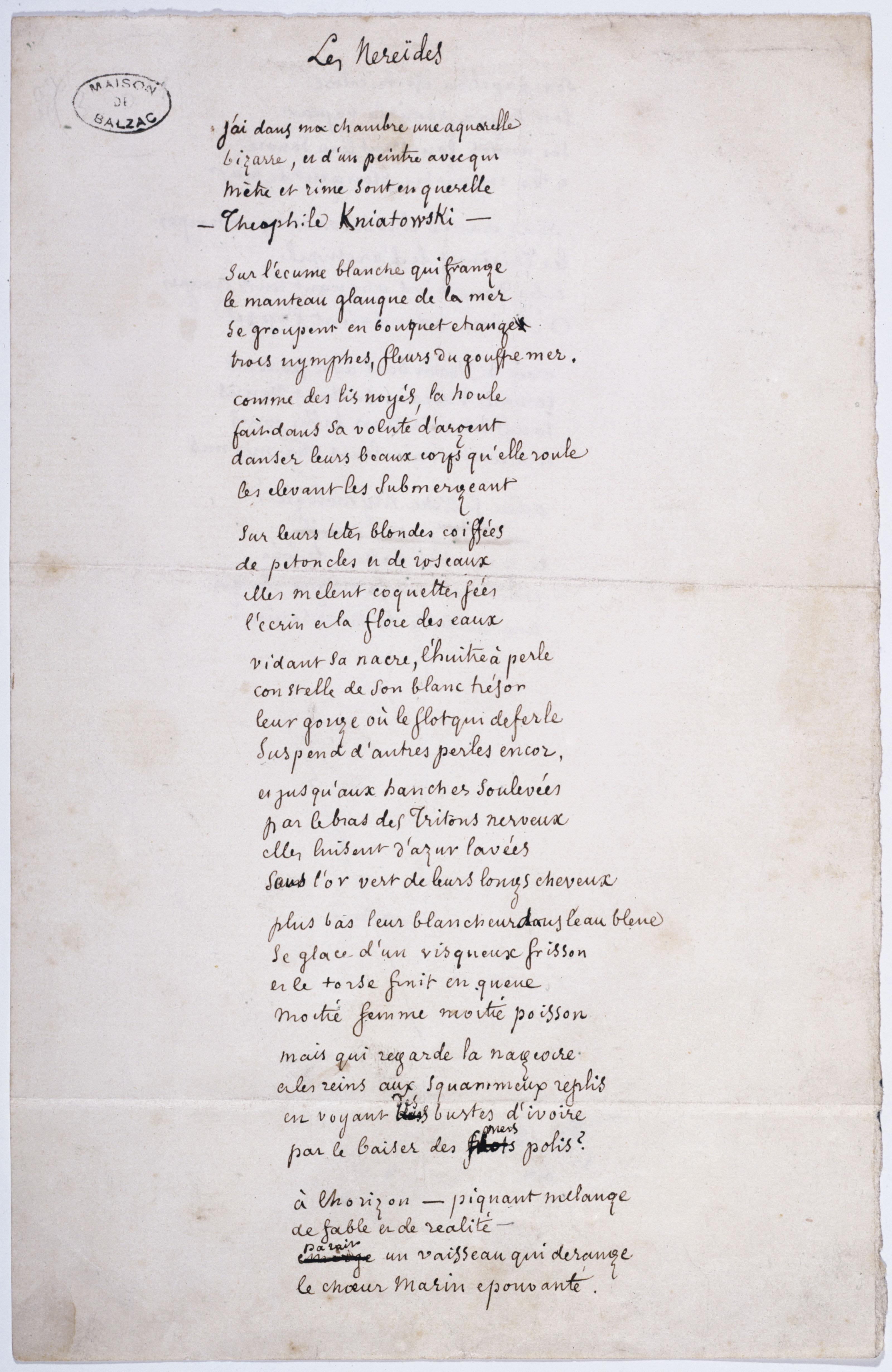 Manuscrit des Néréides