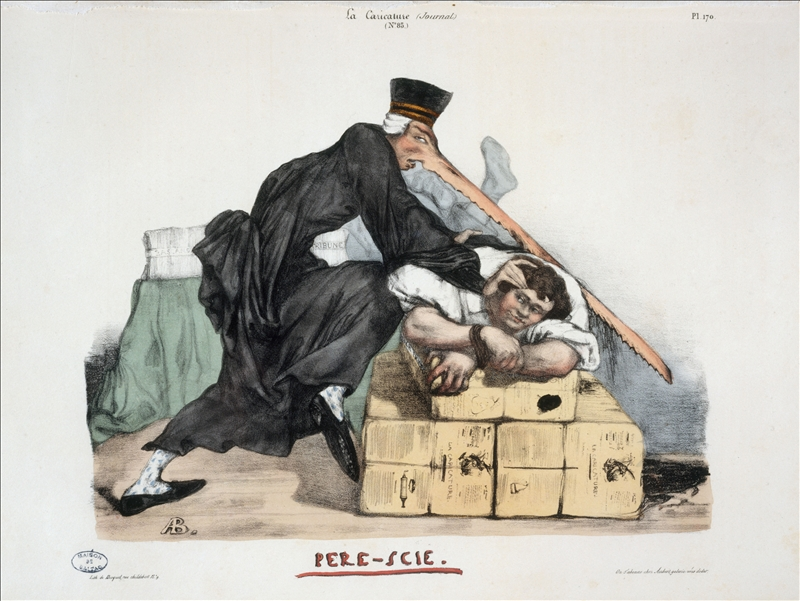 Auguste Bouquet. La Caricature, volume 4, numéro 85 du 14 juin 1832 : Père Scie (planche 170)