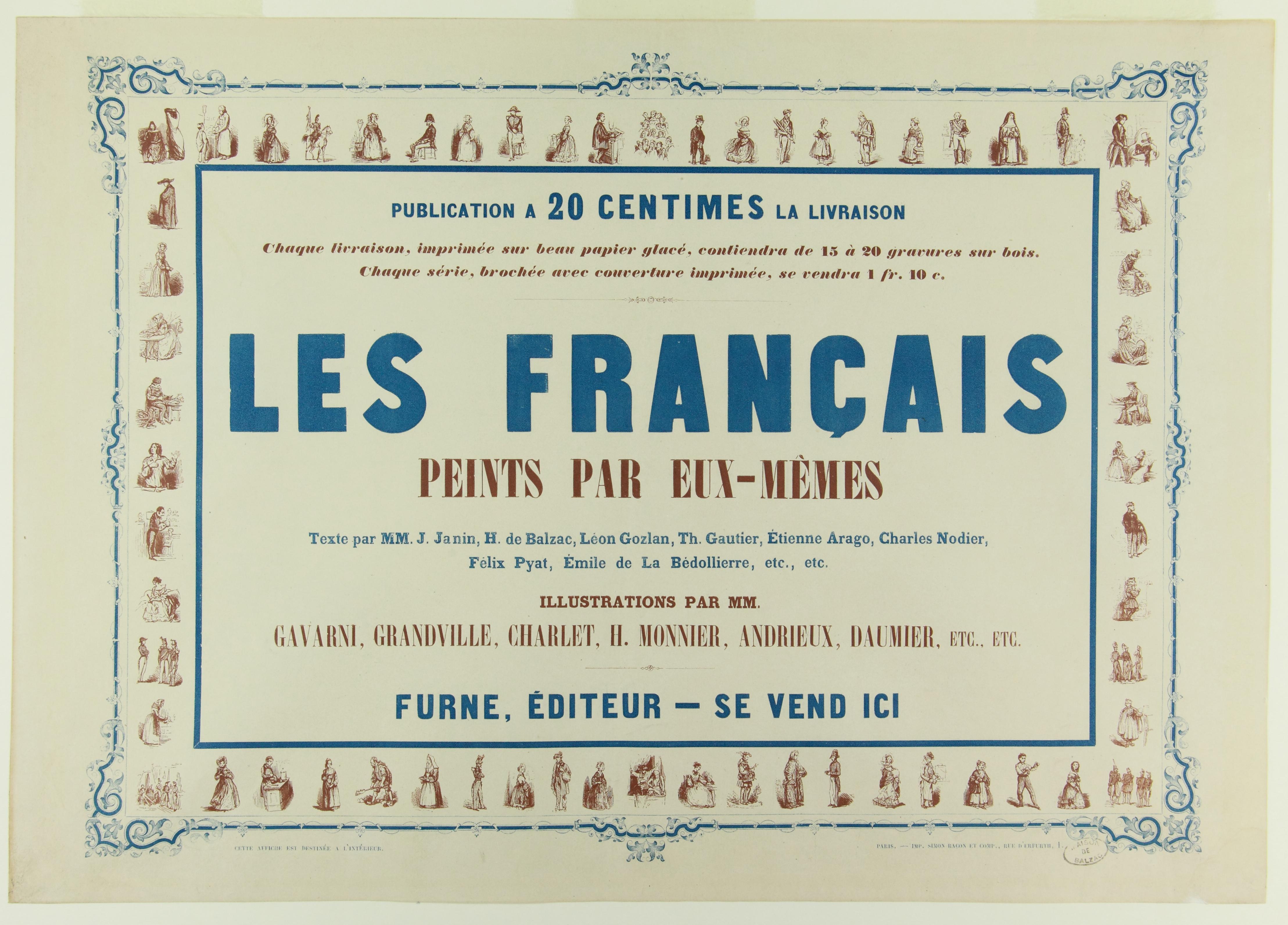 Affiche publicitaire pour Les Français peints par eux-mêmes