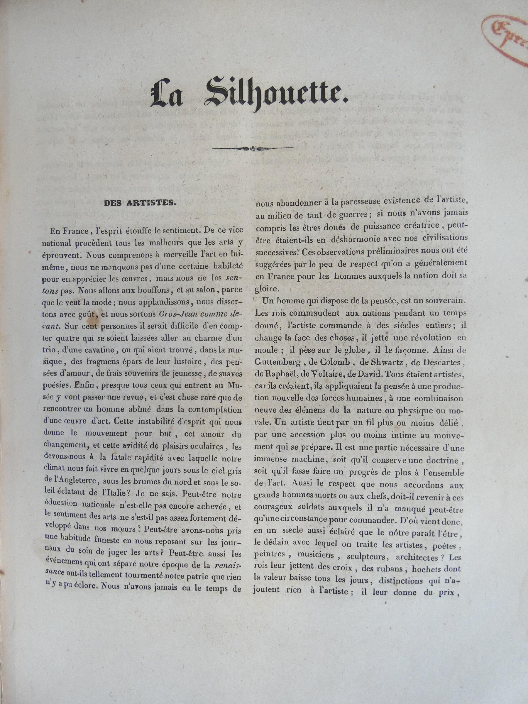 Balzac - Des artistes