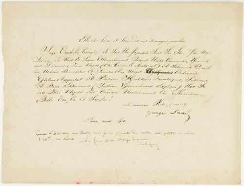 Acrostiche de Balzac signé par lui