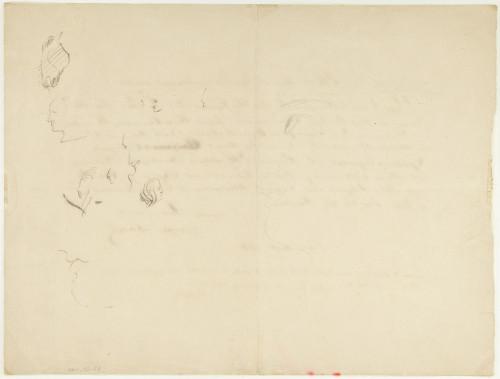 Dessins au dos de l'acrostiche de Balzac signé par lui