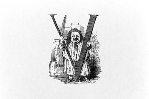Balzac tenant un V par Bertall