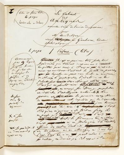 Manuscrit pour la pr face du cabinet des antiques maison de balzac - Cabinet honore de balzac ...