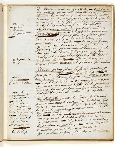 Manuscrit pour la préface du Cabinet des antiques, page 2