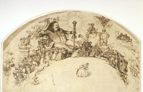 Projet d'éventail : l'apothéose de Balzac par Grandville