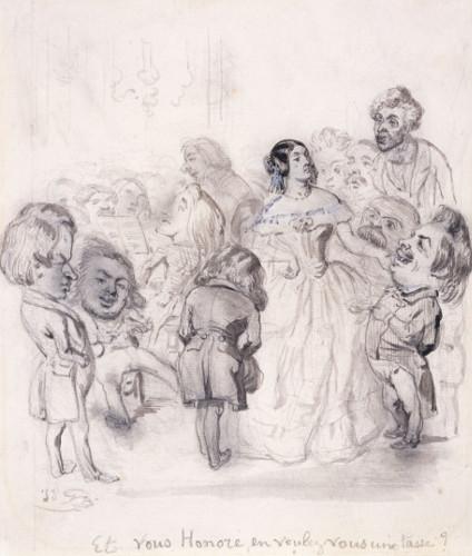 Thé artistique assaisonné de grands hommes par Grandville, dessin, 1845