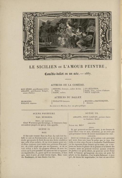 page de titre du Sicilien ou l'Amour peintre